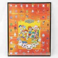 Digimon plakat med 50+ Digimons - inkl. ramme